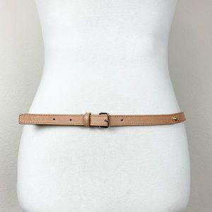 Talbots genuine leather nude tan skinny belt
